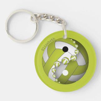 Porte-clefs chaux de volleyball de yin et de yang ou TOUT nom