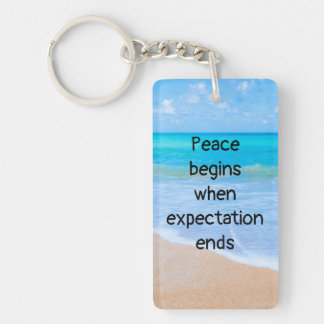 Porte-clefs Citation inspirée avec la scène tropicale de plage