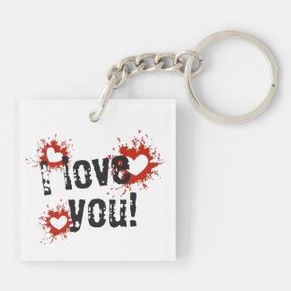 Porte-clefs Coeurs rouges d'éclaboussure de peinture, je