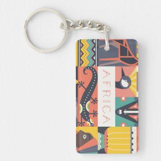 Porte-clefs Collage symbolique africain d'art