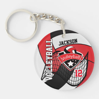 Porte-clefs Conception rouge, noire et blanche de volleyball