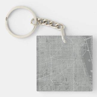Porte-clefs Croquis de carte de ville de Chicago