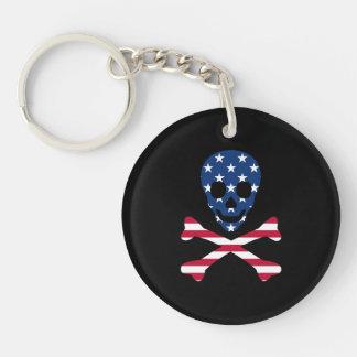 Porte-clefs ~ de crâne et d'os croisés patriotique