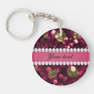 Porte-clefs Diamants de Faux de Bokeh d'or de roses indien