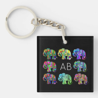 Porte-clefs Éléphants ornementaux colorés de monogramme