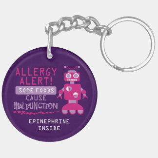 Porte-clefs Enfants roses d'alerte d'allergie alimentaire de