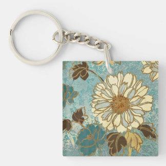 Porte-clefs Floral décoratif dans bleu et blanc