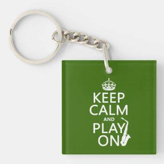 Porte-clefs Gardez le calme et le jeu sur (saxophone) (toute