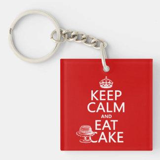 Porte-clefs Gardez le calme et mangez le gâteau