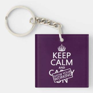 Porte-clefs Gardez le calme et montrez votre travail (toute