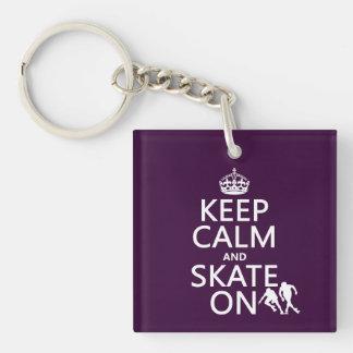 Porte-clefs Gardez le calme et patinez sur (les rollerskaters)