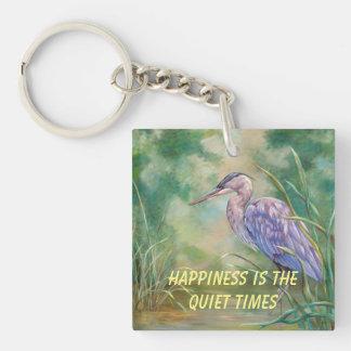 """Porte-clefs Le """"bonheur est"""" - peinture en pastel de héron"""