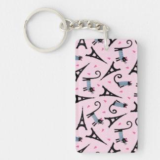 Porte-clefs Le style français a habillé le chat avec le motif