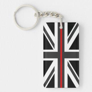Porte-clefs Ligne rouge mince drapeau du R-U