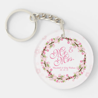 Porte-clefs M. et Mme Floral Watercolor Wedding Keychain