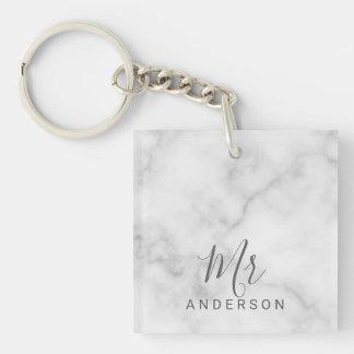 Porte-clefs M. et Mme mariage moderne de marbre élégant de