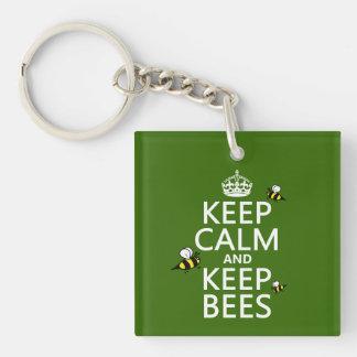 Porte-clefs Maintenez calme et gardez les abeilles - toutes