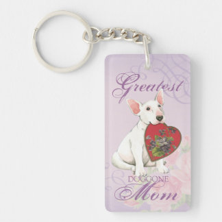 Porte-clefs Maman de coeur de bull-terrier