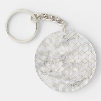 Porte-clefs Marbre blanc avec le motif de cube en or
