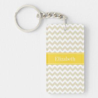 Porte-clefs Monogramme blanc beige de nom d'ananas de Chevron