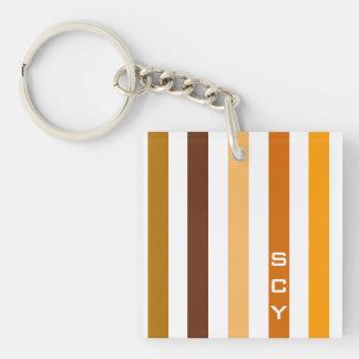 Porte-clefs Monogramme orange bronzage de rayures verticales