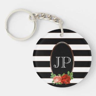Porte-clefs Monogramme rayé blanc noir en bronze floral