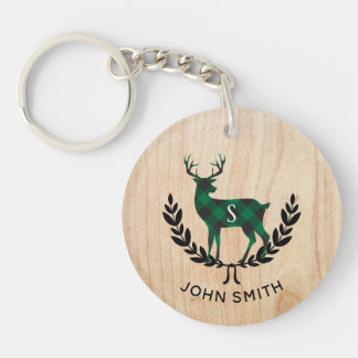 Porte-clefs Monogramme vert de mâle de plaid de Buffalo