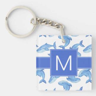 Porte-clefs Motif de baleine bleue d'aquarelle