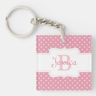 Porte-clefs Point de polka rose personnalisé