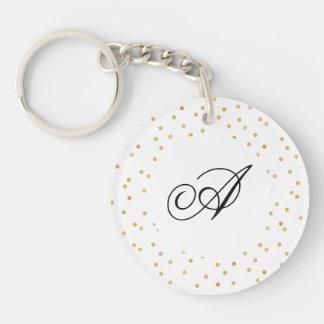 Porte-clefs Points modernes élégants de confettis de blanc et