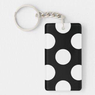 Porte-clefs Pois, taches (motif pointillé) - noir blanc