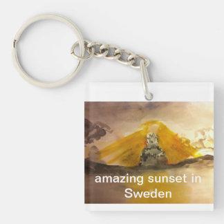 Porte-clefs Porte - clé carré de TNIT (coucher du soleil en