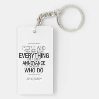 Porte-clefs Porte - clé drôle de citation - Isaac Asimov