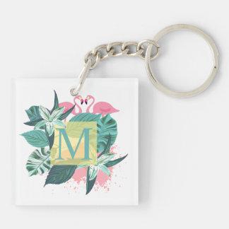 Porte-clefs Porte - clé floral tropical de monogramme de