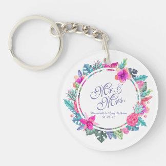 Porte-clefs Porte - clé floral tropical personnalisé de