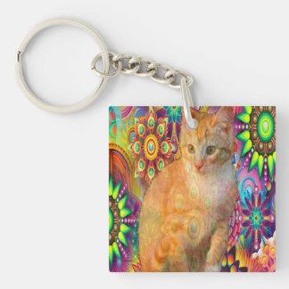 Porte-clefs Porte - clé psychédélique de chat, chat de