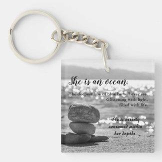 Porte-clefs Porte - clé romantique de poésie de photo d'amour