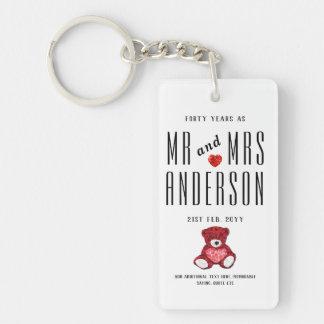 Porte-clefs quarantième Cadeau ROUGE d'anniversaire de mariage