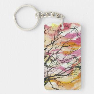 Porte-clefs Rose par les arbres, porte - clé de rectangle