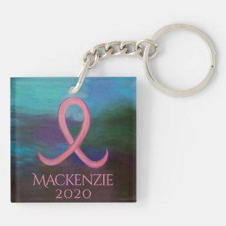 Porte-clefs Ruban rose audacieux de support de cancer du sein