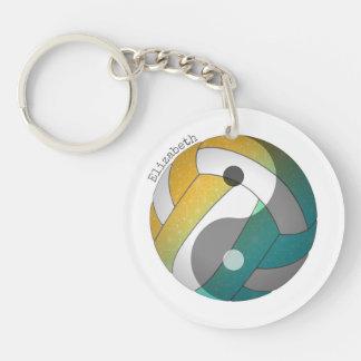 Porte-clefs yin de turquoise et nom oranges du volleyball W de