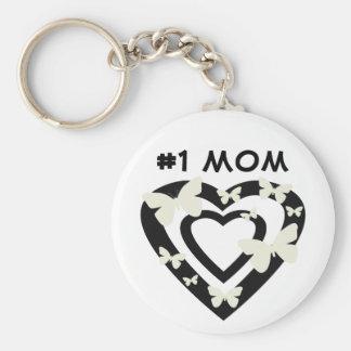 Porte-clés #1 maman, coeurs ouverts, papillons blancs