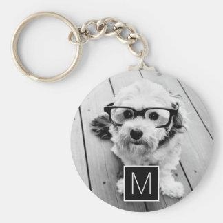 Porte-clés 1 monogramme noir et blanc de coutume de collage