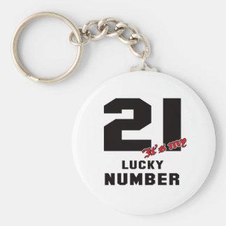 Porte-clés 21 c'est mon nombre chanceux
