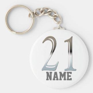 Porte-clés 21ème argent personnalisé | numéro 21