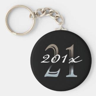 Porte-clés 21ème Numéro argenté 21 de l'anniversaire |