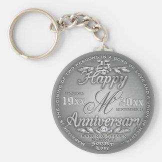 Porte-clés 25ème Monogramme argenté d'anniversaire
