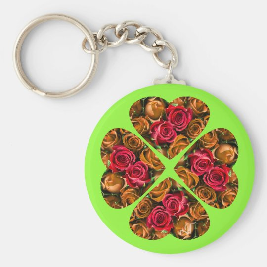 Porte-clés 4-leaf Clover Keychain - Heart and Roses