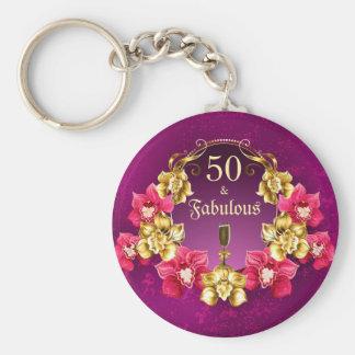 Porte-clés 50 et orchidées fabuleuses et Champagne de rose