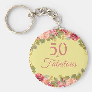 Porte-clés 50 et roses roses fabuleux avec des contacts d'or